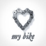 Love my bike heart chain. Love my bike heart shaped chain Stock Image