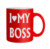 Love my Boss mug isolated - office humour Royalty Free Stock Images