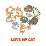 Love my cat promotional poster with fluffy domestic animals. Cute pets with long tails, soft fur and funny faces lie in heart shape isolated cartoon flat Stock Photography