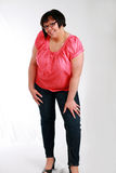 Love My Curves. Plus size black model smiling royalty free stock photography