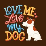 Love my dog lettering 01 royalty free illustration