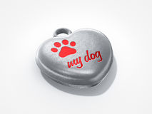 Love my dog. Pendant love my dog with tiny claw Royalty Free Stock Photography