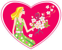 Love in my heart. Card with heart. The beautiful girl with a bunch of flowers Royalty Free Stock Images
