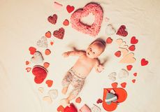 Love of my life. Childhood happiness.Valentines day. Sweet little baby. New life and birth. Family. Child care. Small stock image