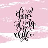 Love of my life hand written lettering positive quote Royalty Free Stock Photography