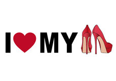 Love my shoes, vector. Love my red stiletto shoes, vector illustration Royalty Free Stock Photography