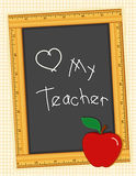 Love My Teacher Blackboard. Back to school, wood ruler frame blackboard, heart (Love) and an apple for my teacher. Copy space to add your own text Stock Images