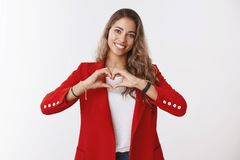 Free Love My Team. Indoor Shot Friendly-looking Cute Caring Young Female Entrepreneur Expressing Sympathy Warm Feelings Royalty Free Stock Photography - 148636787