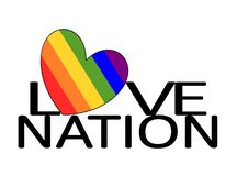 Love Nation Heart. Love Nation with a gay rainbow pride heart as a symbol of togetherness, harmony, love and friendship with a mixed diversity gay pride and vector illustration