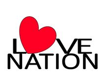 Love Nation Heart. Love Nation with a red heart as a symbol of togetherness, united, harmony, love and friendship stock illustration