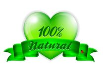 Love Natural Banner with Green Heart and Ladybird. Love 100% Natural Green Environmental Banner stock illustration