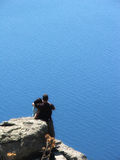 Love & Nature. They are watching the Aegean Sea at Assos, Canakkale, Turkey royalty free stock photos