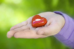 Love for nature. A child hand with red heart on palm like a concept of love for mother´s day or love for nature and environment Stock Images