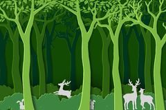 Love nature with animal wildlife in green woods,paper art design for World forest day,banner or poster royalty free illustration