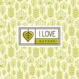 Love nature logo on seamless pattern with leaves. Love nature logo, label or sticker design with green leaf in shape of heart. Seamless pattern with linear tree Stock Image