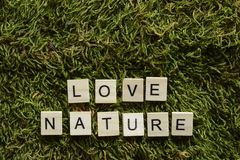 Love nature written with wooden letters cubed shape on the green grass. stock image