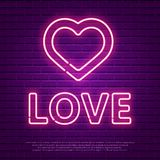 Love Neon Glowing Text. Valentines Day 80s Retro banner template. Night club  electric light signboard. Dark brick wall background. Vector illustration. Party Royalty Free Stock Images