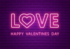 Love Neon Glowing Text. Valentines Day 80s Retro banner template. Night club  electric light signboard. Dark brick wall background. Vector illustration. Party Stock Photo