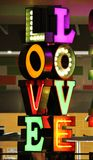 Love neon lights font Stock Images
