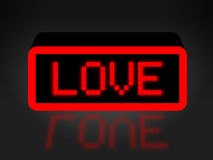 Love Neon Sign Shows Compassion Compassionate And Affection. Love Neon Sign Indicating Boyfriend Display And Fondness Stock Photo
