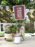 Love Never Ends. Nice decoration style for wedding event royalty free stock image