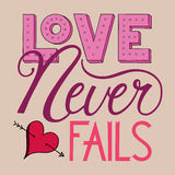 Love Never Fails Lettering. Hand Lettered Words Love Never Fails Royalty Free Stock Image