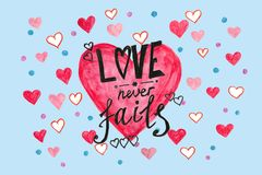 Love never fails - watercolor painting of Bible quotes on blue with pink hearts royalty free stock image