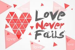 Love Never Fails. White Background Stock Photo