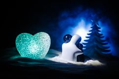 Love New Year Concept Girl And Boy Ceramic Figures Hugs Each