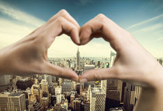 Love New York. Heart shaped hands framing New York royalty free stock photography