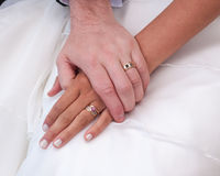 Love. Newly weds holding hands after wedding Royalty Free Stock Images