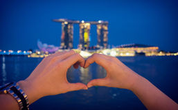 Love at the night of Singapore Royalty Free Stock Image