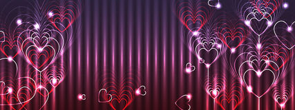 Love nine banner colorful effect. This illustration is design and drawing love nine layer lines with banner and red, purple and pink color effect in banner size Royalty Free Stock Image