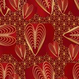 Love nine red golden colors seamless pattern. This illustration is design red love nine line with golden color in symmetry shape background and seamless pattern Stock Photos