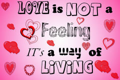 Love is not a feeling Stock Images