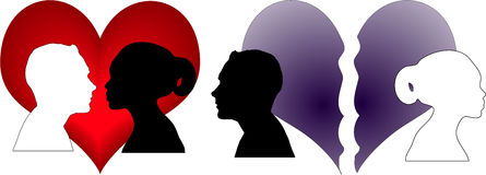 Love or not love woman and man siluetas in heart Royalty Free Stock Image
