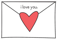 Love note 1. Love note in a white envelope sealed with a red heart and the words i love you royalty free illustration