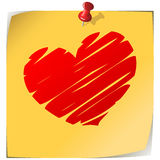 Love note. Pinned yellow note paper with drawn heart isolated on white Stock Photography