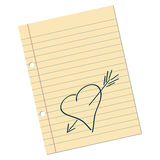 Love note. Love letter draft with heart over white Stock Images
