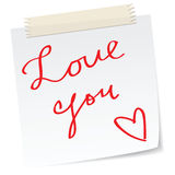 Love note. A love message on a note Royalty Free Stock Photo
