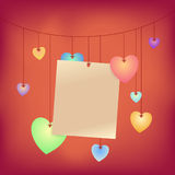 Love Note. Hanging on rope with heart shapes Stock Images