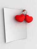 Love note. Empty note with hearts. Cartoon Royalty Free Stock Photo