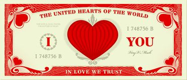Love note. Imagine a world where love is currency Stock Photography