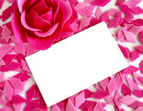 Love note. Empty white card on pink confetti Royalty Free Stock Images
