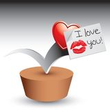 Love note bouncing on patch. Bouncing heart and I love you note Stock Photography