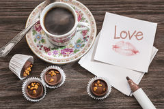 Love note, candy and coffee. Royalty Free Stock Image