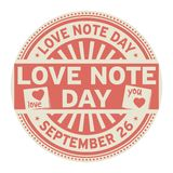 Love Note Day, September 26. Rubber stamp, vector Illustration stock illustration