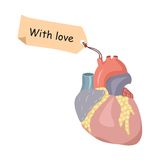 With love note. Funny vector illustration with heart and a note Royalty Free Stock Photography