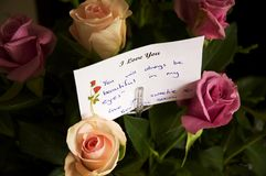 Love Note I. A love note sent with flowers to a young bride-to-be Royalty Free Stock Photos