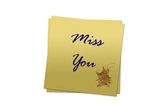 Love note illustration. Miss you written on the stick note Stock Image